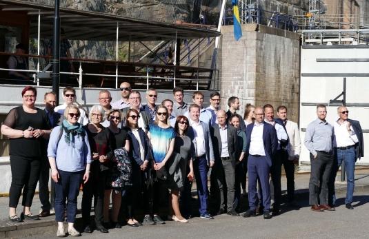 10. EMMA partners in front of the Trollhättan locks in Sweden in May 2018